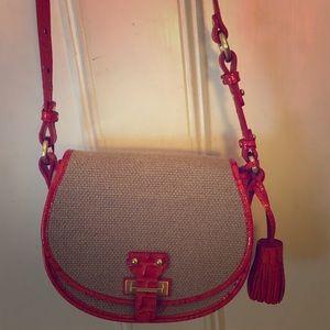 Brahmin linen/croc textured shoulder bag